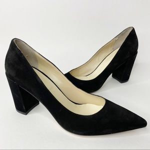 Butter Italy Black Suede Pointed Toe Block Heels